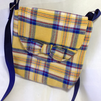 Messenger Bag in Yellow and navy tartan fabric, with bow, fully lined
