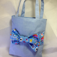 Child's Alice Band Bow Bag tote in blue gingham and Alice in Wonderland fabric