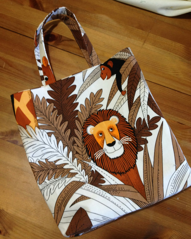 Child's tote, shopping bag, handmade in Lion Hippo Leopard Jungle cotton
