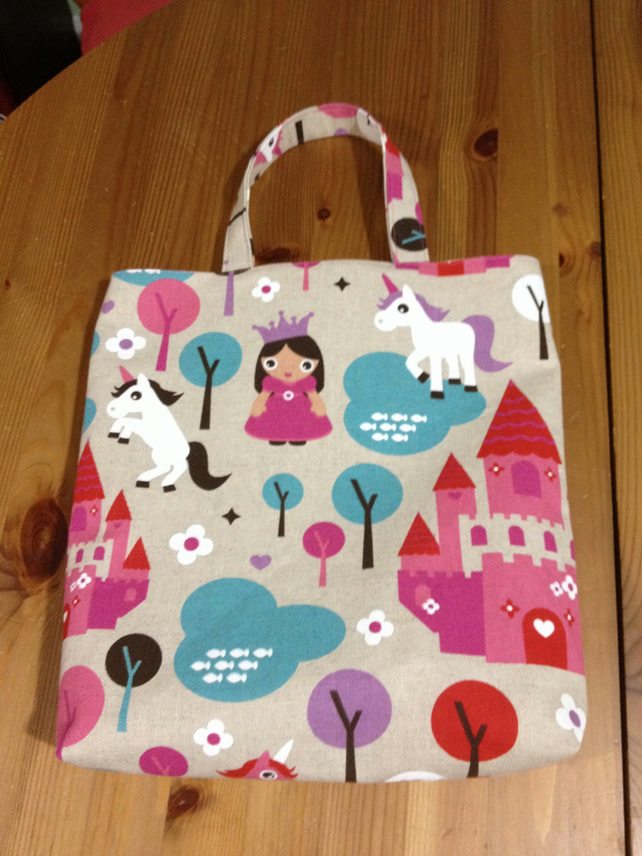 Child's tote, shopping bag, handmade in pink Princess castle unicorn cotton