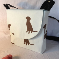 Dog Walker's Messenger Bag in Chocolate Labrador Duck-egg Canvas