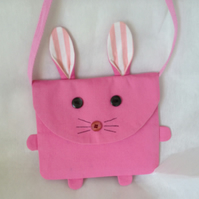 Bunny Bag child's messenger bag in pink canvas pink white striped cotton lining