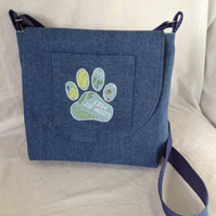 Appliqued Dog Walker's, Dog Treat, Dog Lover's Bag in Mid-blue denim lined