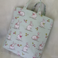Child's Small Bunny tote, shopping bag, handmade in mint green white rabbits