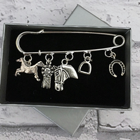 Horse Themed Charm Pin