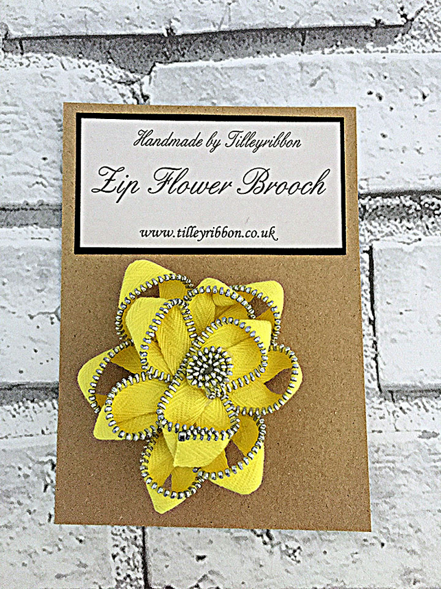 Zip Flower Brooch - Yellow