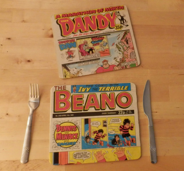 Pair of comic book table place mats