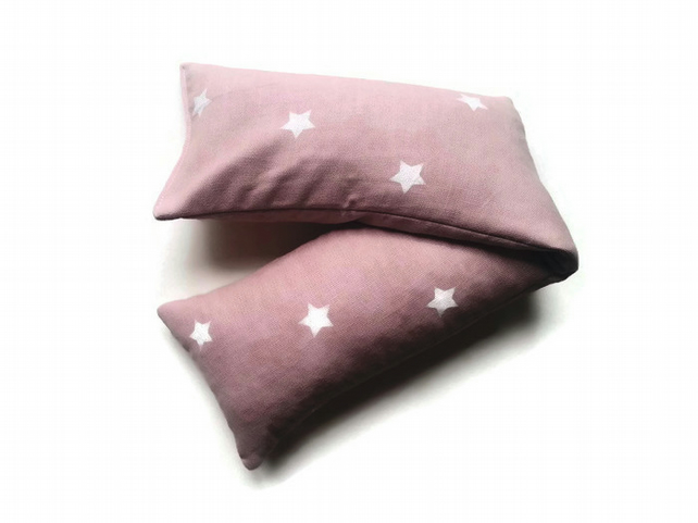 NO SCENT warming extra large wheat bag in cotton pink and white star fabric