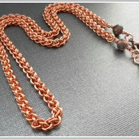 Heavy Long Copper Chainmaille Necklace Jens Pind Linkage for Men