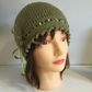 Womens Green Hat, Sage Tweed 1920s Gatsby Style Ribbon Laced Beanie