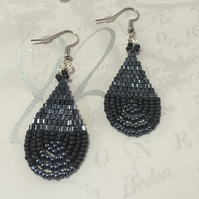 Dark Grey Gunmetal Beadwork Earrings,