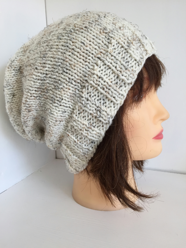 Unisex Slouchy Beanie Handknitted in Ivory Wool