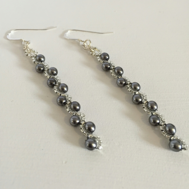 Dainty Dark Grey Earrings, Grey Pearl Handwoven Jewellery for Special Occasions.