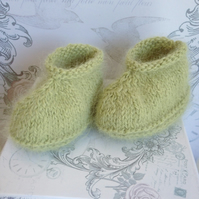 Baby Angora Booties Soft Green Newborn to 3 Months