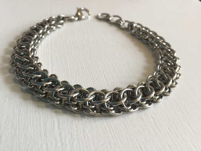 Mens Wide Stainless Steel Chainmaille Bracelet
