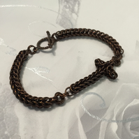 Womens Dark Copper Cross Chainmaille Bracelet, Dainty Bracelet, Meaningful Gift