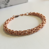 Copper Bracelet, Byzantine Chainmaille Bracelet, Mens Gift, Anniversary Gift