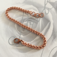 Dainty Copper Chainmaille Bracelet, 7th Anniversary Gift, Gift for Women,