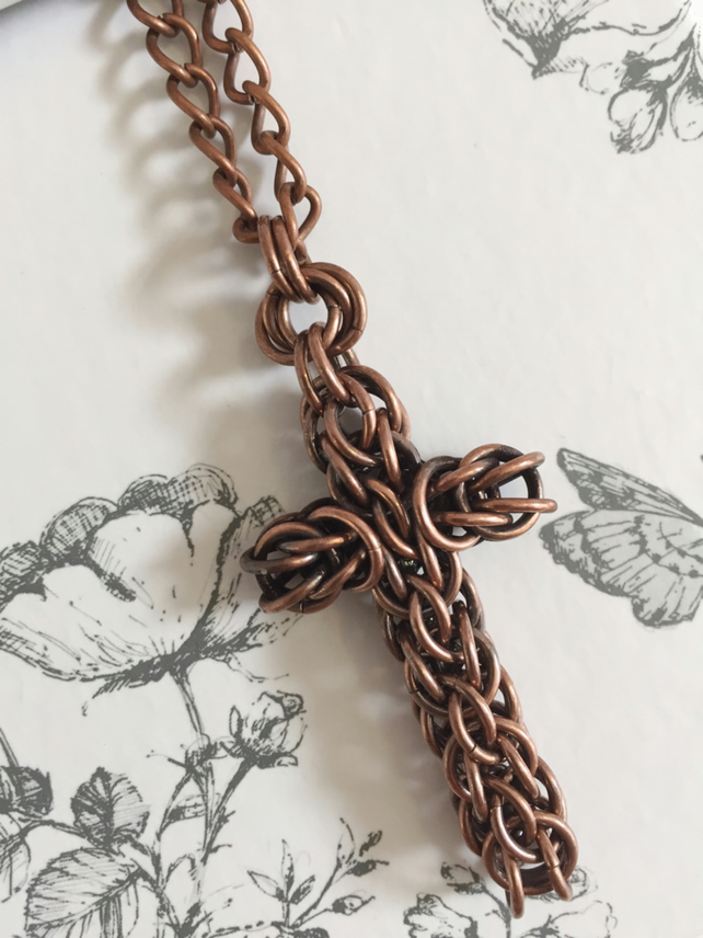 Dark Copper Cross Pendant Necklace, Chainmaille Cross, Thoughtful Christian Gift