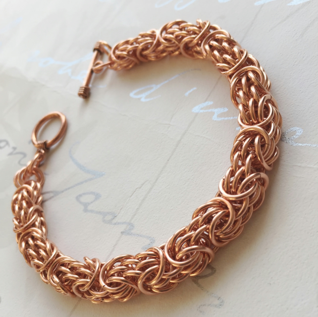 Heavy Copper Bracelet for Men, Tryzantine Chainmail, Statement Bracelet,
