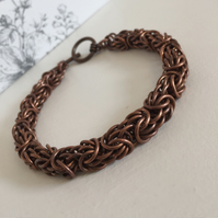 Heavy Dark Copper Bracelet for Men, Tryzantine Chainmail, Statement Bracelet,