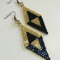 Black and Gold Diamond Shaped Earrings, Art Deco Dangle Drop Earrings, Beadwork