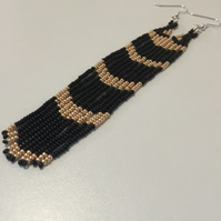 Black and Gold Long Fringe Earrings, Dangle Drop Seed Bead Earings