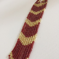 Garnet Gold Long Fringe Earrings, Dangle Drop Seed Bead Earings