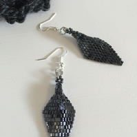 Gunmetal Grey Beaded Earrings, Spearhead Style Earrings, Seed Bead Jewellery