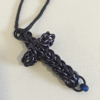 Blue Chainmaille Cross Pendant, Thoughtful Christian Gift, Cross Jewellery