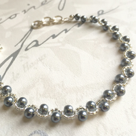 Pearl Beaded Bracelet, Dark Grey Pearl Bead Woven Jewellery