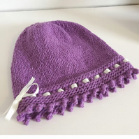 Baby hat, Purple Baby Beanie, 0 - 6 Months, Cotton Handknit Hat