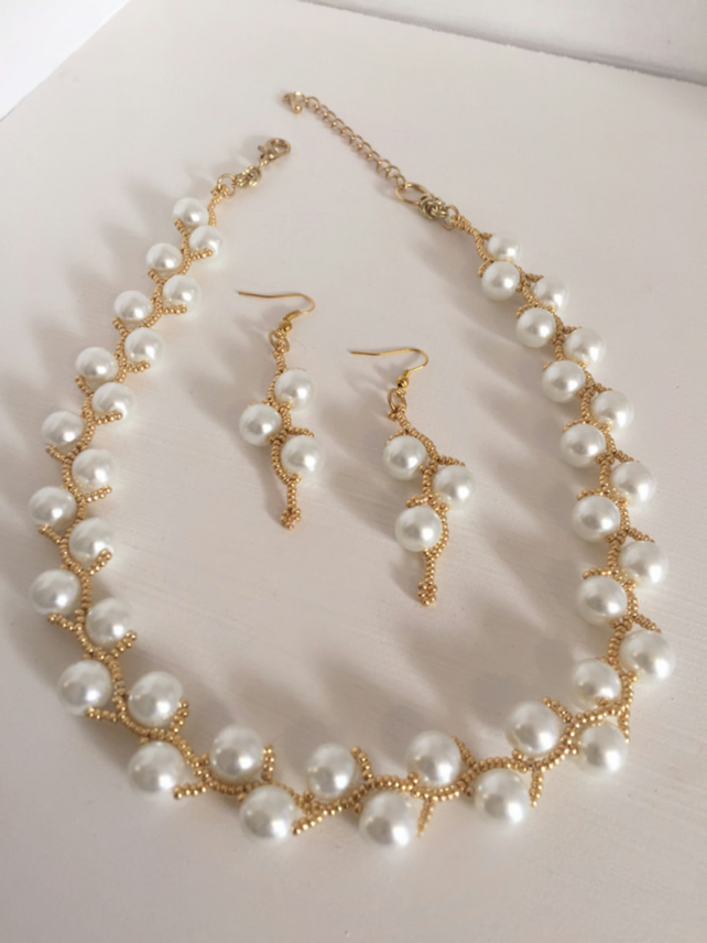 White Pearl Necklace and Earring Set, Gold Seed Bead Bridal Necklace