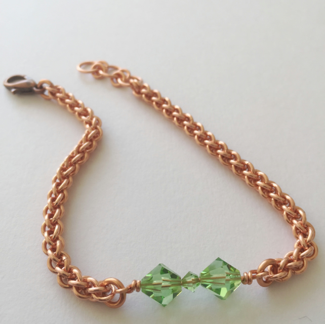 Peridot bracelet, August Birthstone in Swarovski Crystal, Skinny Copper Bracelet