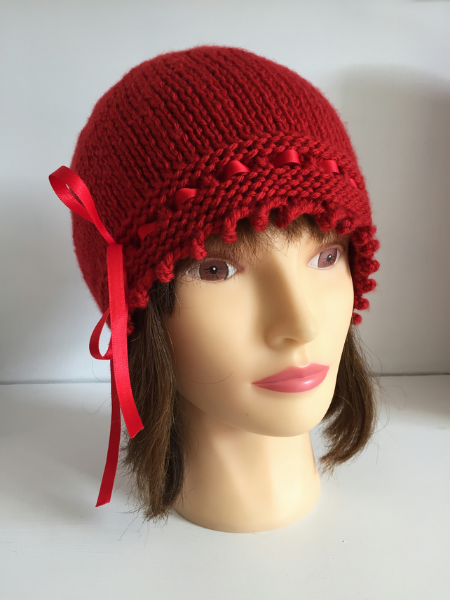 Womens Red Hat, Vintage Winter Hat, Ribbon Laced Beanie Hat, Vegan Gift Hat
