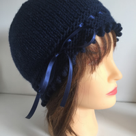 1920s Style Hat, Navy Blue Vintage Winter Hat, Ribbon Laced Beanie Hat,