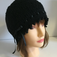 1920s Style Hat, Black Vintage Look Winter Hat, Ribbon Laced Beanie Hat,