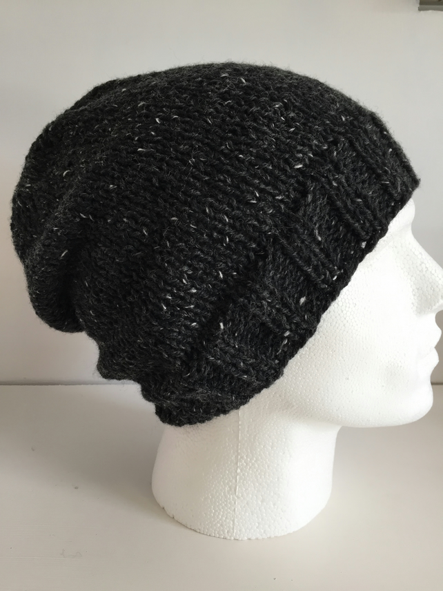 Dark Grey Unisex Beanie, Charcoal Hand Knit Slouch Hat