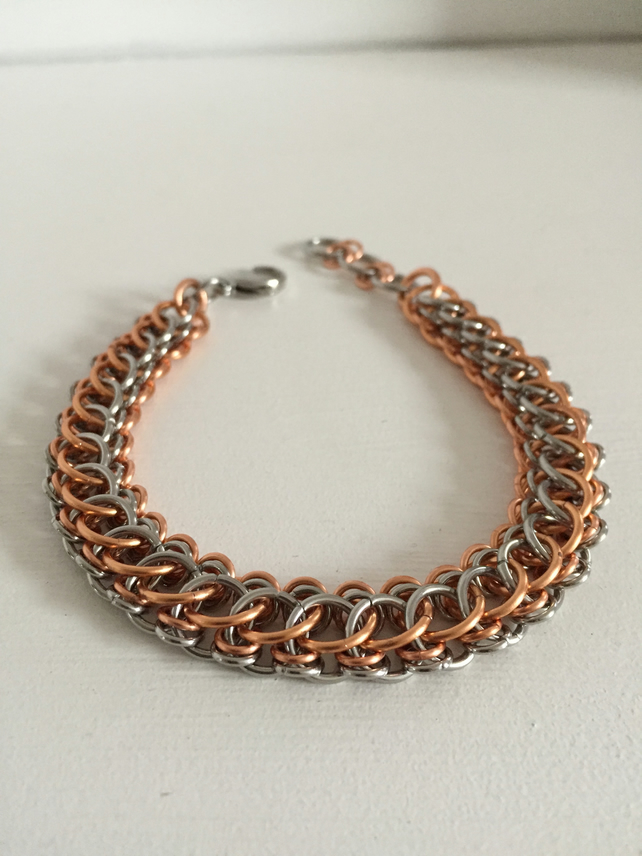 Mens Stainless Steel and Copper Bracelet, Mixed Metal Bracelet