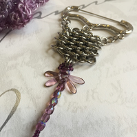 Beaded Amethyst Dragonfly Brooch Steel Chainmaille for Mothers Day Gifts