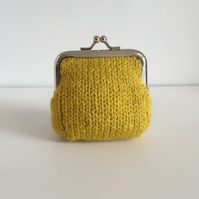 Mustard Yellow Knitted Metal Coin Purse with Kiss Lock Frame for Mothers Day