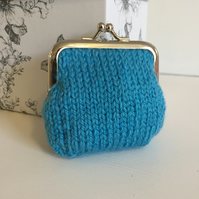 Turquouse Hand Knit  Metal Coin Purse with Kiss Lock Frame for Mothers Day