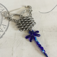 Cobalt Blue Dragonfly Brooch with Steel Chainmaille for Mothers Day Gifts