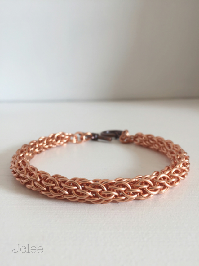 Copper Chainmaille Bracelet, Woven Viking Style Jewellery for Men
