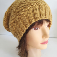Mustard Slouch Hat, Unisex Yellow Beanie, Teenager Wool Hat, Slouchy Hats