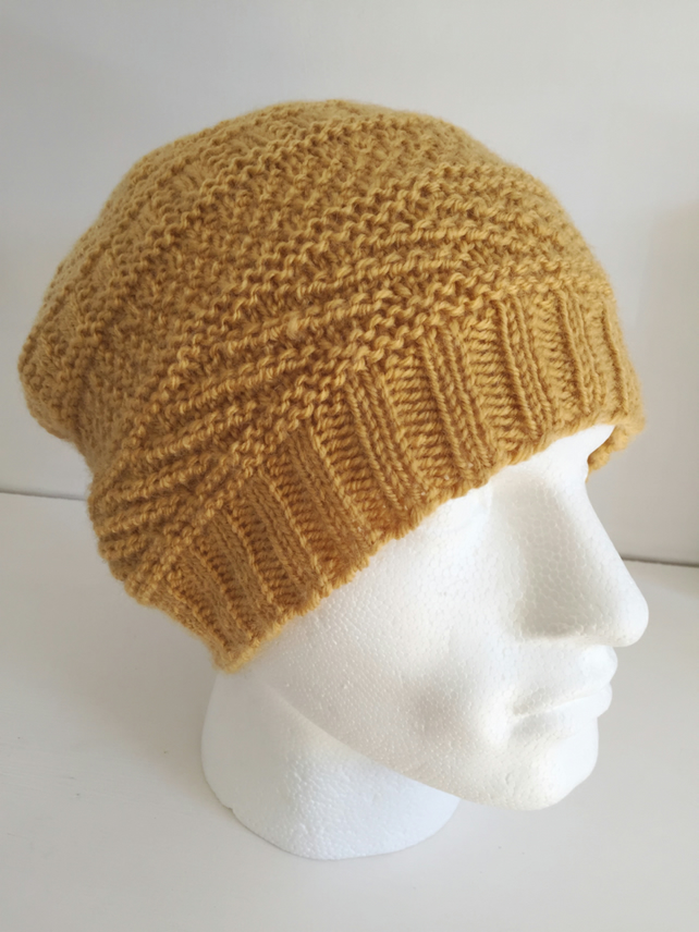 Unisex Mustard Slouch Hat, Adult Teens Yellow Woolly Beanie Wool Hat Gift Idea