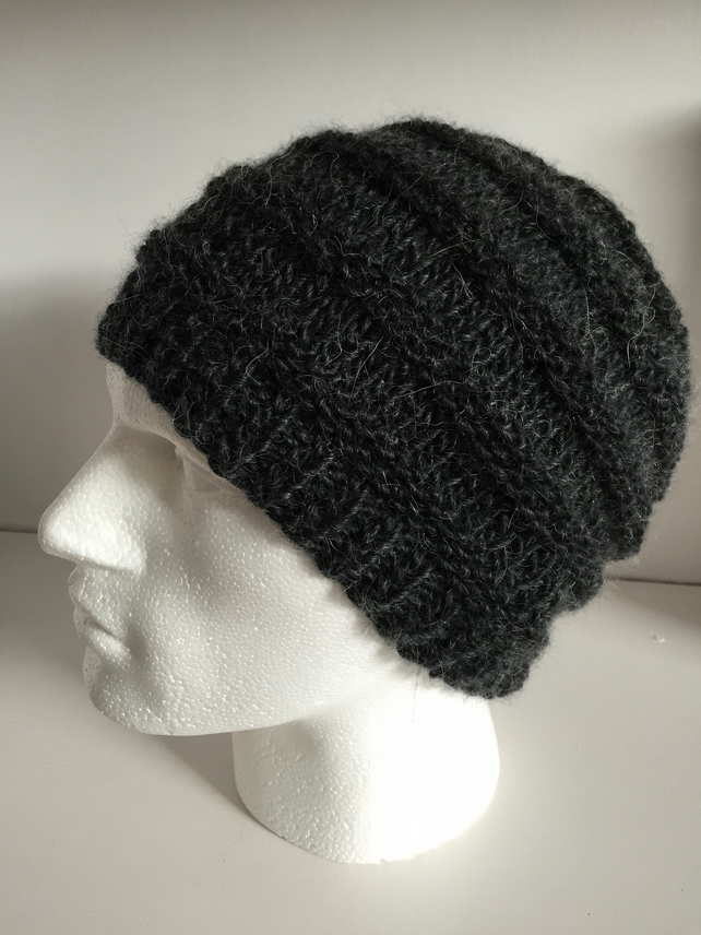 Knitted Unisex Charcoal Slouchy Beanie Hats Thick Chunky Yarn for Men and Women