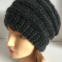 Unisex Dark Charcoal Slouchy Beanie Hats Chunky Hand Knit Hats For Men and Women