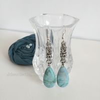 Turquoise Teardrop Earrings with Stainless Steel Byzantine Chain Drops
