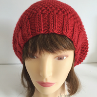 Womens knit Beret, Cherry Red Hat, Vegan Friendly Hat, Womens Fancy Hats